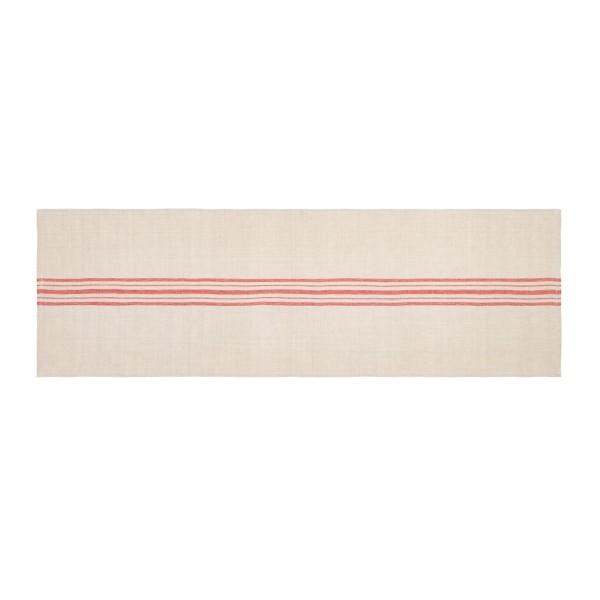 Linen Blend Stripe Table Runner - Natural/Red