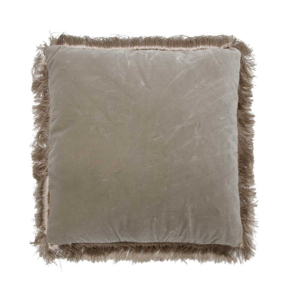 Fringed Square Cushion Grey