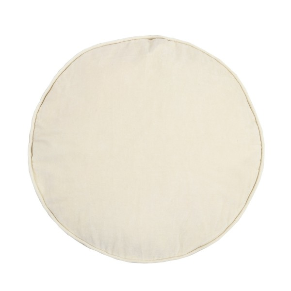 Velvet/Cotton Round Cushion - Bone White