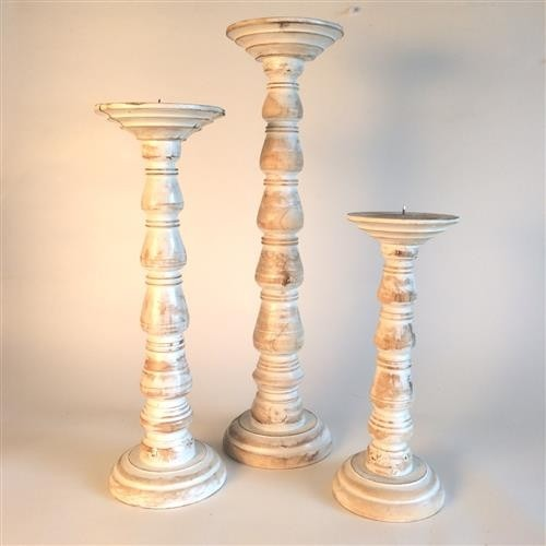 Blip Candlesticks Set of 3 Whitewash