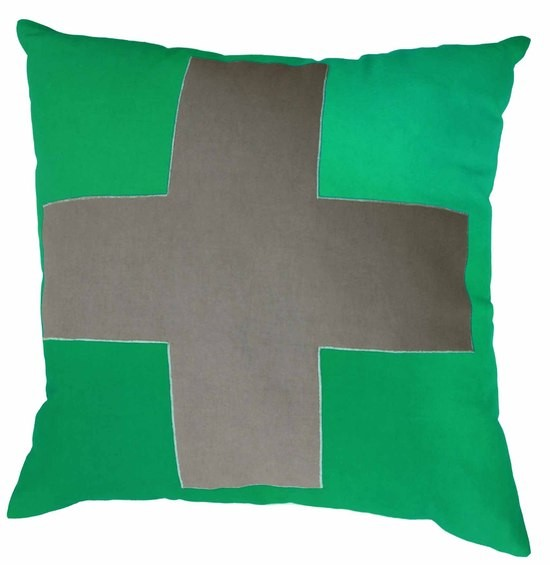 Mulberi TicTacToe Cross Emerald Green Cushion