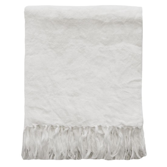 Mulberi 100% Linen Indira White Throw