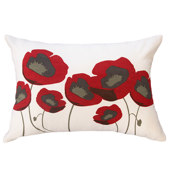 Limon Scarlet Blossom Red/White Cushion