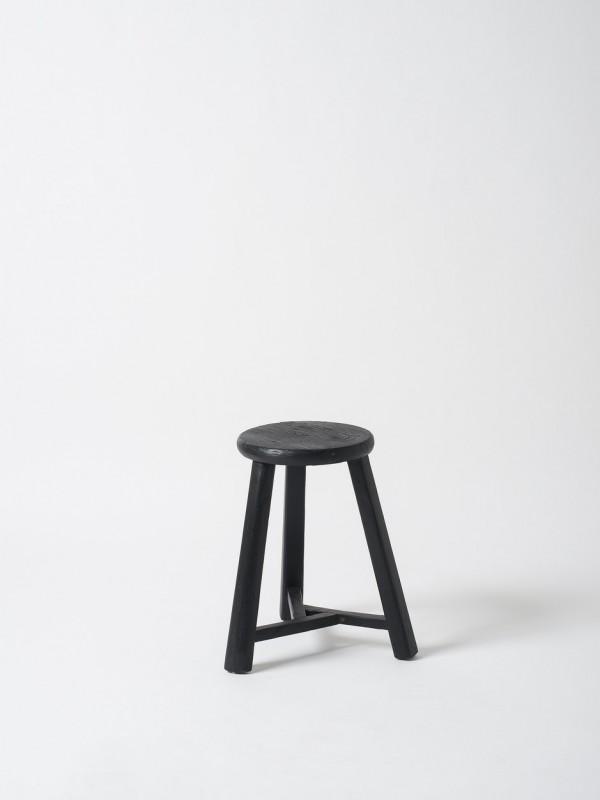 Antique Round Stool - Matte Black