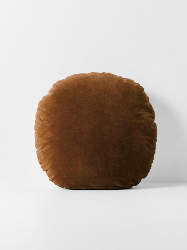 Luxury Velvet Round Cushion - Tobacco