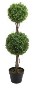 90CM Plastic Trunk Boxwood Ball Tree with Pot