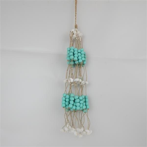 Bead/Shell Hanging Bundle Aqua