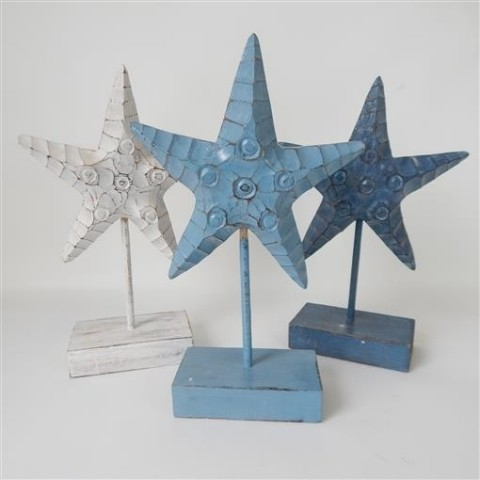 Carved Starfish on Stand Set of 3