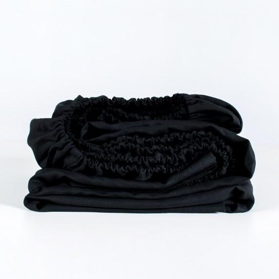100% Linen Fitted Sheet - Black