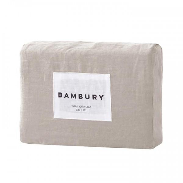 100% French Flax Linen Sheet Sets by Bambury - Pebble