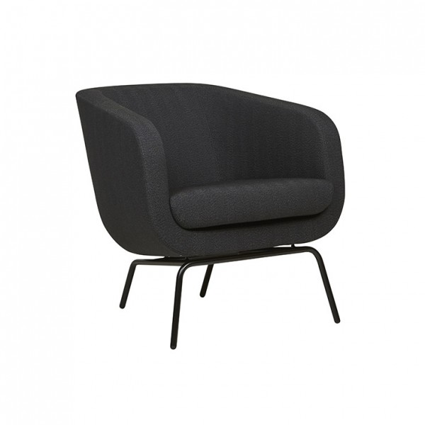 Juno Tub Metal Leg Occasional Chair - Charcoal/Herringbone