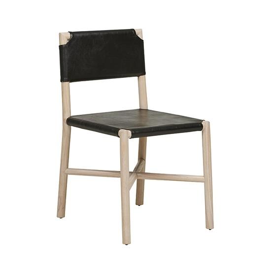 Seed Flat Leather Chair - Black/Drift