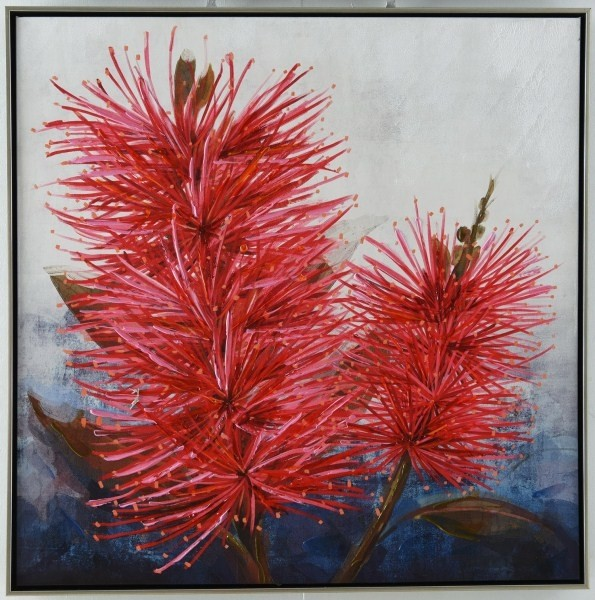 Pricklybloom Canvas Art with Silver Frame