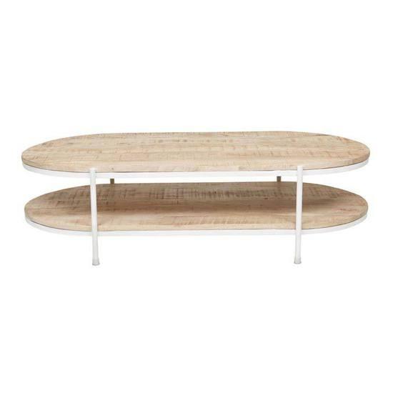 Merricks Oval Coffee Table Natural/White