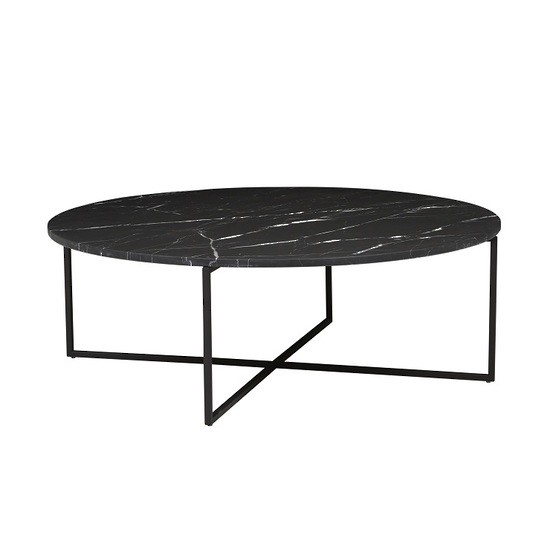 Elle Luxe Marble Round Coffee Table - Black/Black