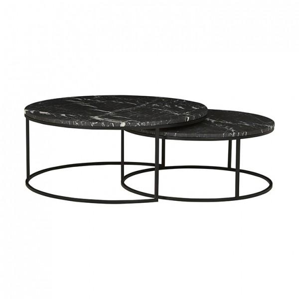 Elle Round Marble Nest Coffee Tables - Black/Matt Black