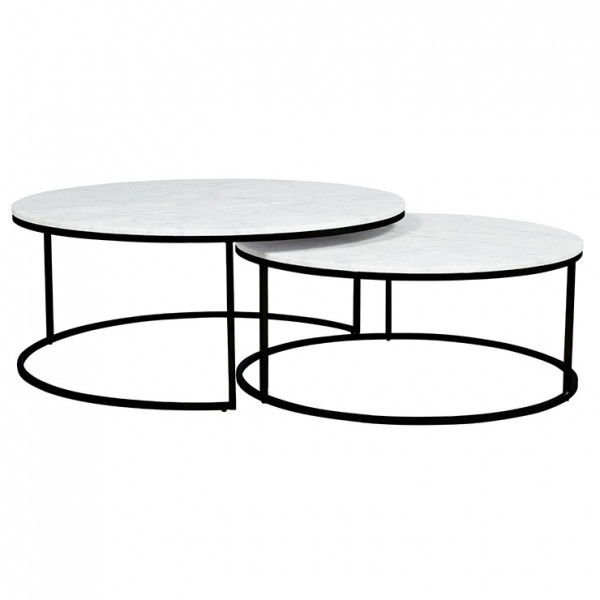 Elle Round Marble Nest Coffee Tables - White Marble/Black
