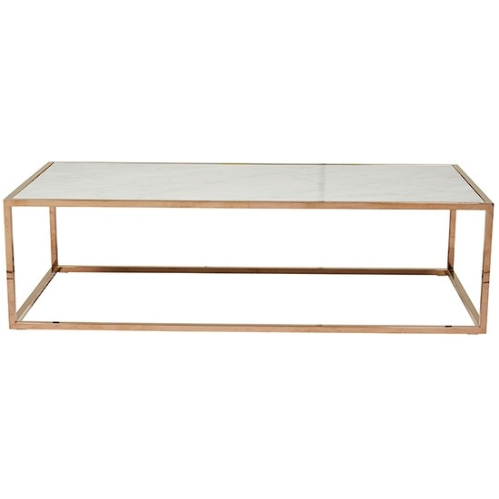 Elle Cube Gloss Marble Coffee Table - Brass / Polished White