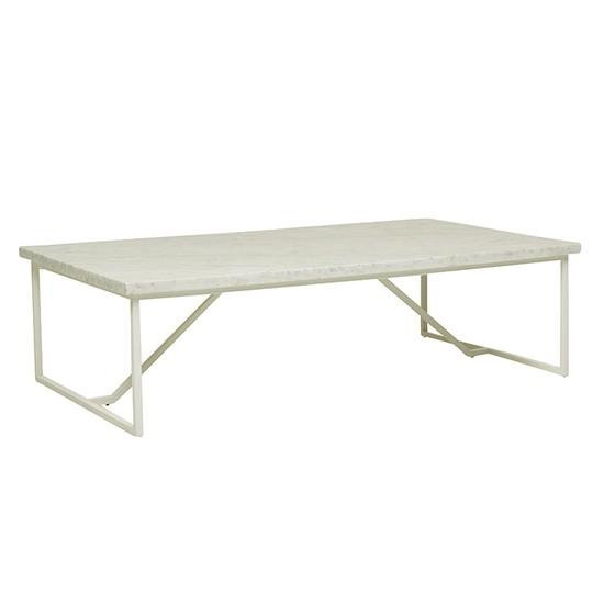 Elle Trestle Marble Coffee Table - White/White Marble