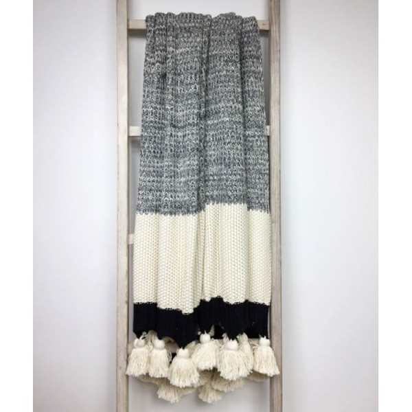 Grey Stripe Tassel Design Throw