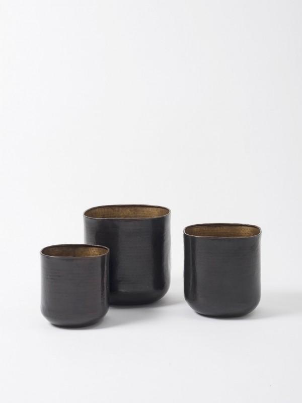 Gava Grande Planter Set of 3 - Antique Brown