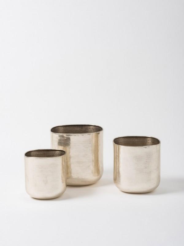 Gava Grande Planter Set of 3 - Antique Silver