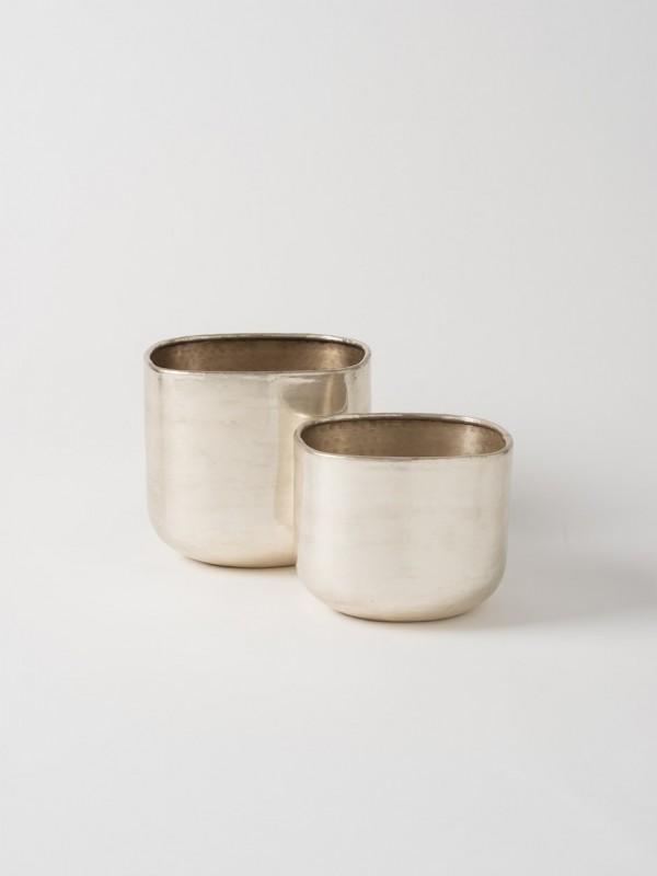 Gava Square Planter Set of 2 - Antique Silver