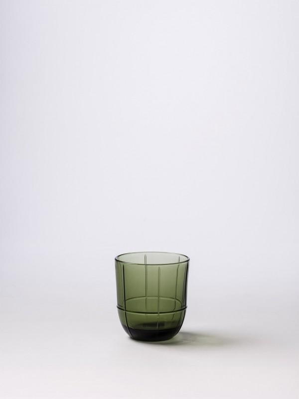 Glass Grid Tumbler Olive - Set of 8
