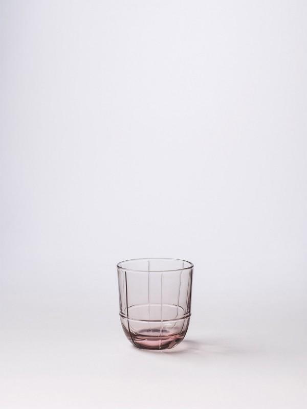 Glass Grid Tumbler Rose - Set of 8