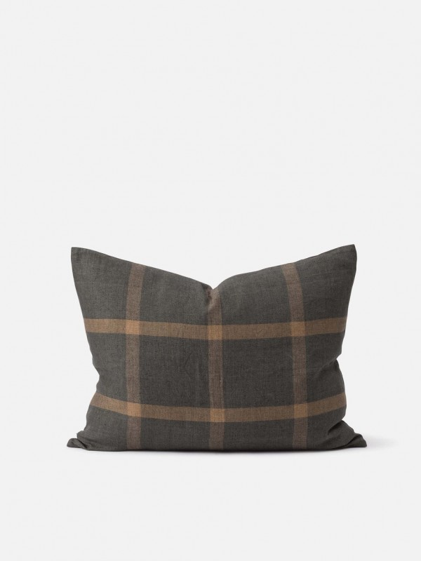 Grid Woven 100% Linen Cushion Cover - Set of 2