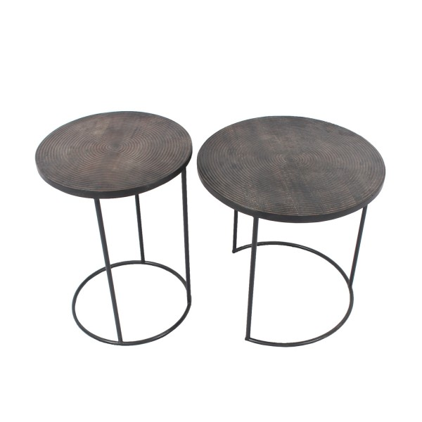 Wooden Iron Side Tables - Set of 2