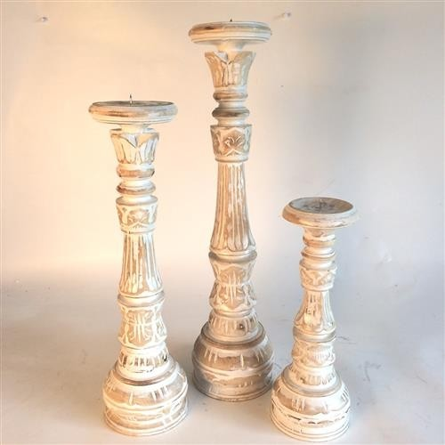 Ornamental Candlesticks s/3 Whitewash 30cm/40cm/50cm high