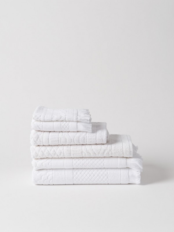 Jacquard Bath Towel Collection - White