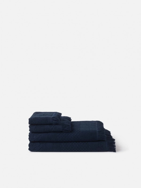 Jacquard Bath Towel Collection - Navy