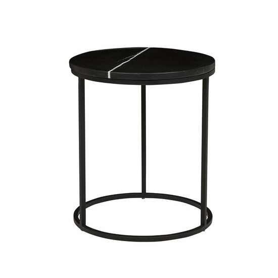 Elle Round Side Table - Black/Matt Black