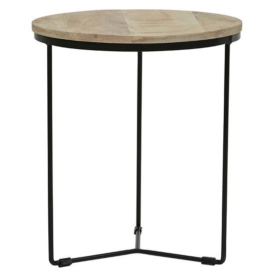 Flinders Round Side Table Large Natural/Black