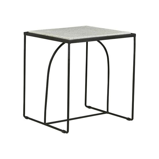 Brigette Arch Terrazzo Side Table - White/Black