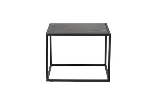 Elle Cube Marble Side Table - Black/Black