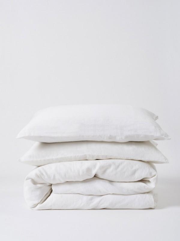 100% Linen Duvet Cover White