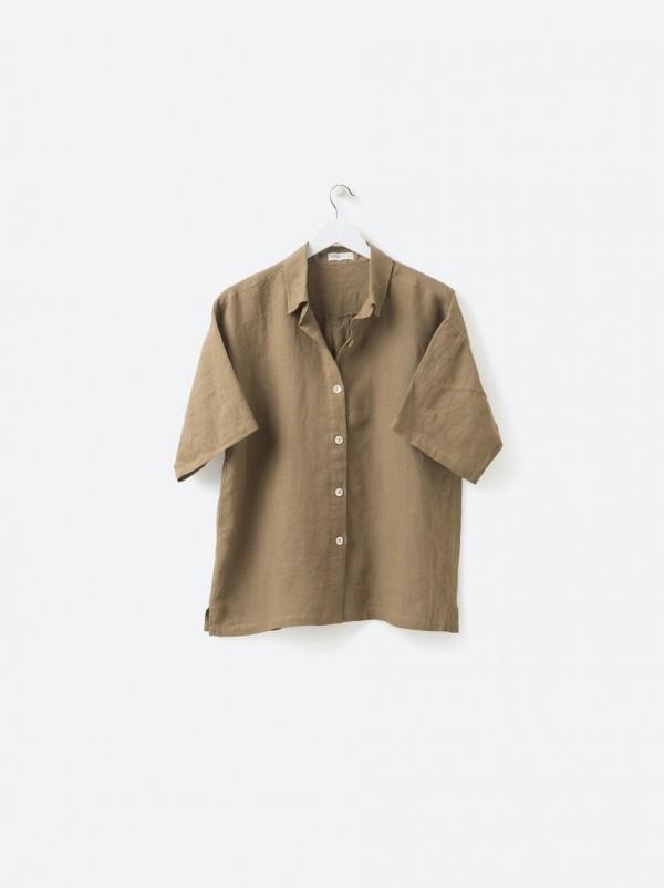 100% Linen PJ Shirt - Pickle
