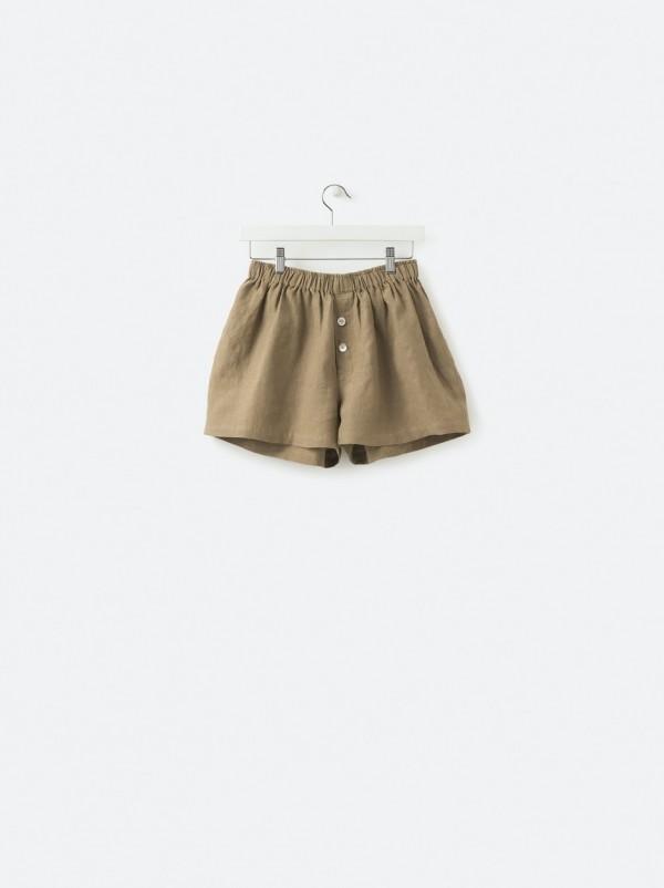 100% Linen Shorts Pickle