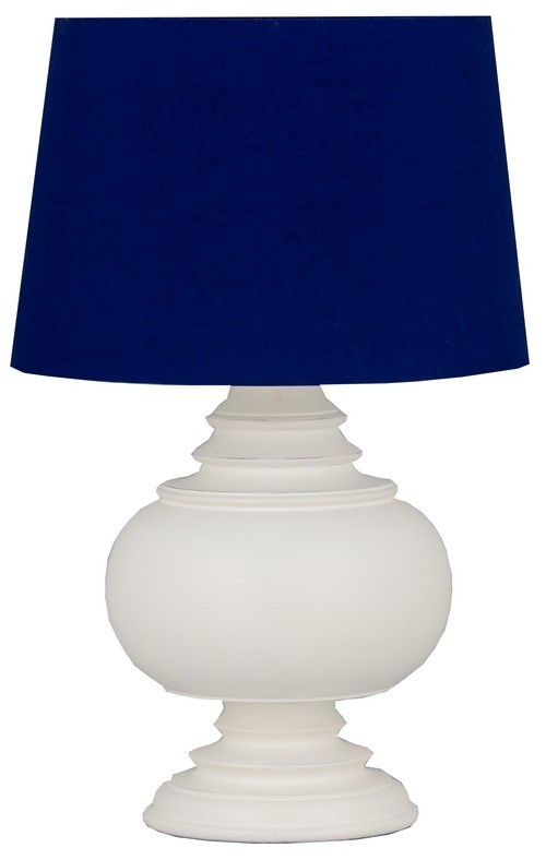 White Table Lamp with Blue Shade