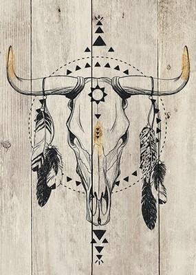 Wood Panel Art Tribal Taurus II