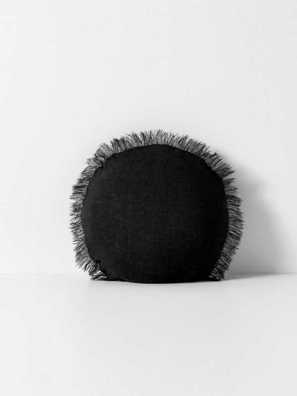 Vintage Linen Fringe Round Cushion by Aura - Black