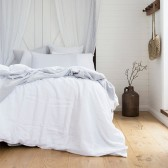 100% French Flax Linen Duvet Cover Set by Bambury - Ivory