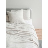 100% Linen Stripe Duvet Cover - Ash/Chalk