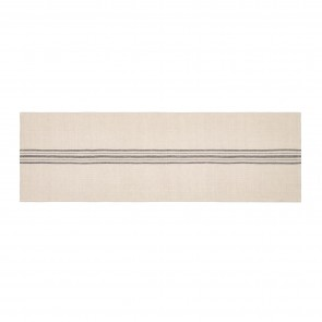 Linen Blend Stripe Table Runner - Natural/Black