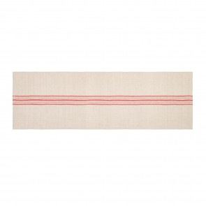 Linen Blend Stripe Table Runner - Natural/Red