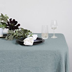 100% Linen Hemmed Table Runner 40 X 150CM Pearl Blue - Each