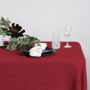 100% Linen Hemmed Table Runner 40 X 150CM Red - Each